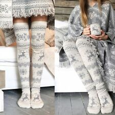 Damen Overknee Lang Socken Winter Warm Strick Strümpfe Kniestrümpfe Stockings
