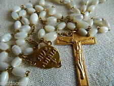 ❧  1960'S GOLD PLATED ROSARY MOTHER OF PEARL BEADS MODERNIST MOD FLAIR