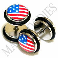 0165 Fake Cheaters Illusion 16G Plugs 0G 8mm American Flag United States USA US