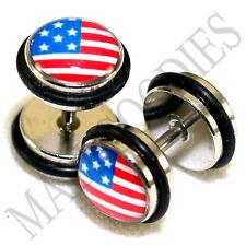 8mm Amercian Flag United States Usa Us 0165 Fake Cheaters Illusion 16G Plugs 0G