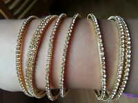Beautiful Indian Diamante Rhinestone Bollywood set of 4 Bangles Silver or Gold