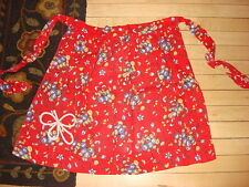 Vintage Half Apron BLUE GREEN YELLOW FLORAL ON RED