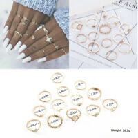 13Pcs Vintage Star Moon Crystal Finger Ring Set Bohemian Knuckle Midi Rings