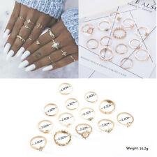 13Pcs Vintage Star Moon Crystal Finger Ring Set Bohemian Knuckle Midi Rings
