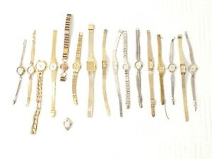 Vintage Lot 17 Women's Wind Up Gold Tone Plated Silver Watches Jewels Diamonds