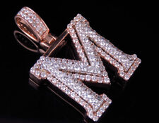 Custom 3D Letter M Initial Diamond Pendant Charm In 10K Two Tone Gold 2 CT 1.5""