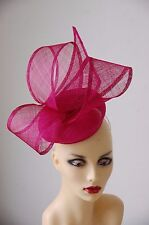 TWO TONE CERISE & FUSCHIA FEATURE PILLBOX FASCINATOR  NO RETURN OR REFUND