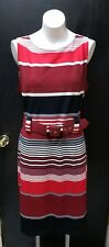 NWT ILE NEW YORK Red Black White Multi-Striped Knit Sheath Dress w Belt Size 16
