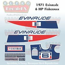 1971 Evinrude 6HP Fisherman Outboard Reproduction 9Pc Marine Vinyl Decal 6102-03