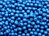 40pcs Top Hole Round Beads 6mm Color Trends Satin Metallic Azure