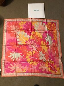 "Emilio PUCCI Authentic 100% Silk Scarf Large 34""x34"" Made in Italy - Pink - NOS"