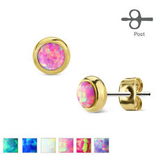 Studs Surgical Steel Gold, With Opal IN Green, Blue, White, Pink, Red, Purple