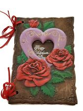Vintage 1981 ceramic Valentine Card Hearts Roses Trinket Beautiful unique gift