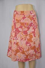 Liz & Co. Womens 16 Pink Orange Paisley Mid Calf Length Pencil Lined Skirt