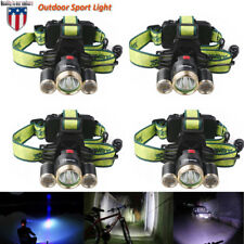 4PCS Skywolfeye 80000LM 4Mode LED Headlamp XML 3x T6 Super Bright Headlight USAR