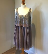 WOMENS NEXT GREY SEQUINNED PLEATED CHIFFON WOMENS DRESS PROM PARTY - Size 12