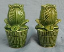 Set Vintage Green Potted Flower Rose Salt & Pepper Shakers