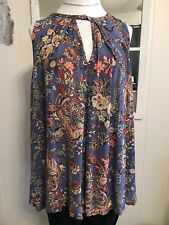 MIttoshop GORGEOUS Periwinkle Blue Floral Print Rayon Sleeveless Swing Tunic Sm