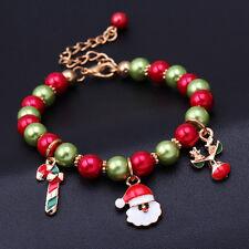 Bracelet Chaîne Noël Père Renne Bonbon Perle Décor Fête Enfant Amis Cadeau Mode