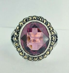 Vintage Chunky Sterling Silver Amethyst Paste & Marcasite Cluster Ring UK N/O