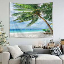 Palm Tree Beach Wall Hanging Tapestry 2X1.5M Bedspread Decor Thin Poly Top Cover