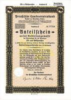 Preußen Landesrentenbank hist. Anteilschein Berlin 1928 Bonn DSL Bank Postbank