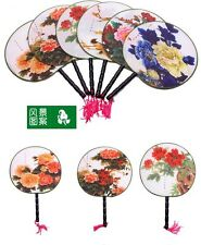 Chinese Ancient Round Silk Palace Fan Dancing Perform Props Home Room Decoration