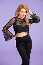 Pinup Girl Clothing/Couture Florence Sexy Goth Lace Crop Top in Black Sz S NWOT