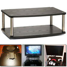 2 Tier TV Stand Table Media Flat Lower Shelf DVD Player Entertain Furniture Home