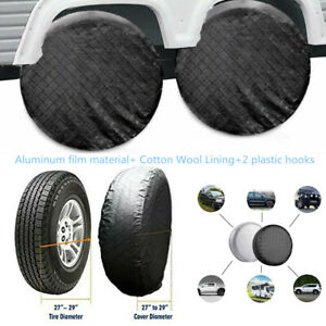 "4xFoldable Wheel Tire Covers Waterproof For RV Trailer Camper Car SUV 26""to 27''"