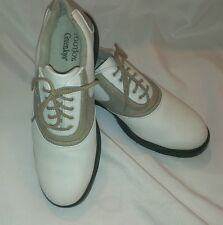 White-Tan 9.5 M FootJoy GreenJoys Women's Saddle Golf Shoes Cleats Spikes 48401