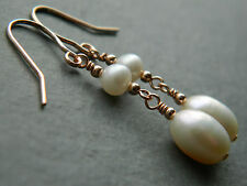 Beautiful Ivory White Freshwater Pearls & 14ct Rolled Rose Gold Bridal Earrings
