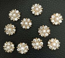 10 Crystal Gold Pearl Flower Flatback Button Embellishment Craft Wedding