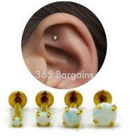 Gold Bar Opal Gem Prong Labret Stud Cartilage Triple Helix Conch Tragus Piercing
