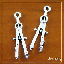 Pencil Compass charms ~PACK of 2 maths teacher school gift drafting drawing tool