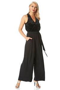 Roman Originals Women Embellished Velvet V-Neck Jumpsuit