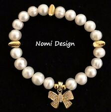 Real Pearls Bracelet Stretch Micro Pave CZ Stones