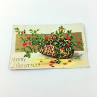 Vintage Embossed Merry Christmas Greetings 1909 Postcard 1801 Posted SHILL NY
