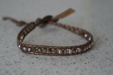 NEW Chan Luu Sterling Silver Bead Swarovski Crystal Mix Leather Wrap Bracelet