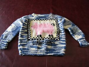Hand Knit Blue & White Child's Sweater w/Pink Pig Oink Oink