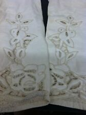 """Vintage Ladies Off-White Leather 12""""Long Evening Gloves Lace Inset Size 6-7"""