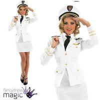 Ladies 1940s 40s Navy Naval Sailor Officer Uniform Fancy Dress Costume WW2