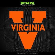 "Virginia - Cavaliers - Text/Icon - NCAA - Orange Vinyl Sticker Decal 5"""