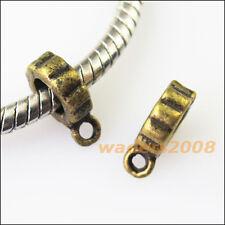 20 New Rings Antiqued Bronze Bail Bead Fit Bracelet Chrams Connectors 7.5x11mm