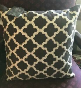 """Rizzy Home Decorative Throw Pillow Charcoal/Whire- Cotton 17"""" inch x 17"""" inch"""