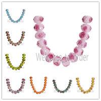 12mm Rondelle Faceted Glass Crystal Rose Flower Inside Lampwork Beads Spacer Hot