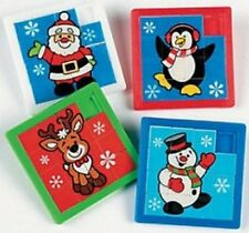 Pack of 4 - Plastic Christmas Holiday Slide Puzzles Party Bags Stocking Fillers