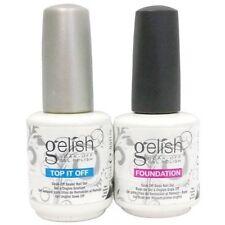 Gelish polish Top and Base coat Soak off LED UV Gel nail polish! 2X15ml!