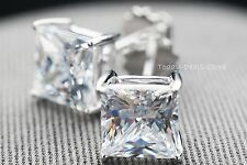 STUD EARRINGS 3.5 CTW  Princess Cut 14k Real White Gold With Screw Back