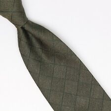 John G Hardy Mens Silk Necktie Dark Green Diamond Check Weave Woven Tie Italy